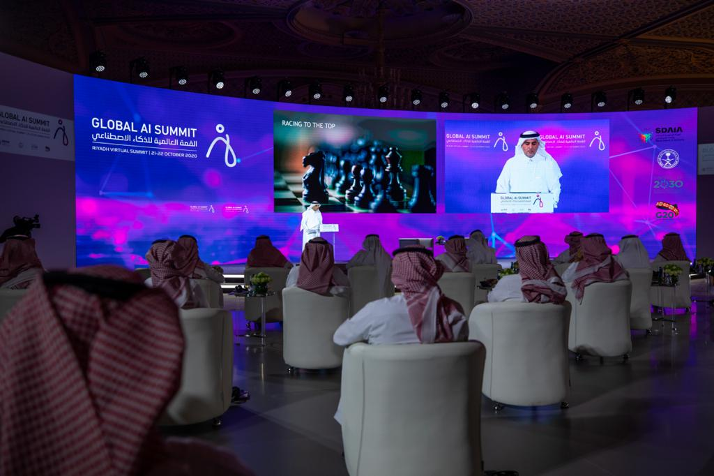 Dr. Abdullah bin Sharaf Al-Ghamdi speaking at the Global AI Summit 2020 in Riyadh