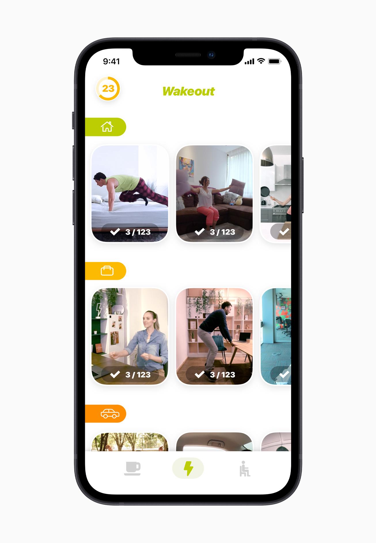 Screenshot of iPhone app Wakeout!
